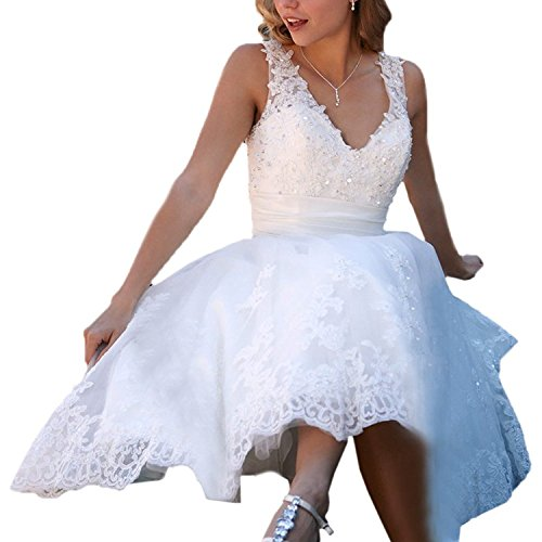 Brautkleid Kurz Ballkleid Hochzeitskleid 01 Elfenbein Abendkleider Carnivalprom Damen Sheer Spitze Elegant nq00IZgF