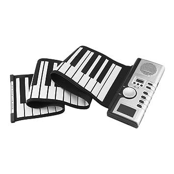 MSQL Teclado Enrollable para Piano, 61 Teclas para Piano de Mano Enrollable, 128 Sonidos