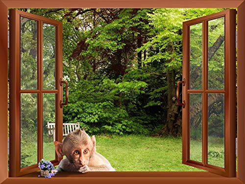 A Monkey outside of an Open Window Removable Wall Sticker Wall Mural