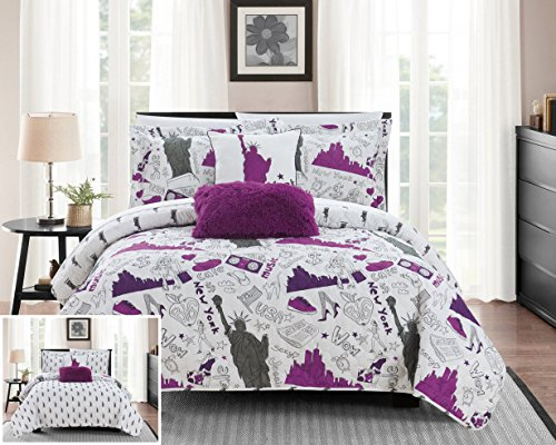 Chic Home New York 5 Piece Reversible Quilt Set City Inspired Printed Design Coverlet Bedding - Decorative Pillows Shams Included Size, Full, Purple