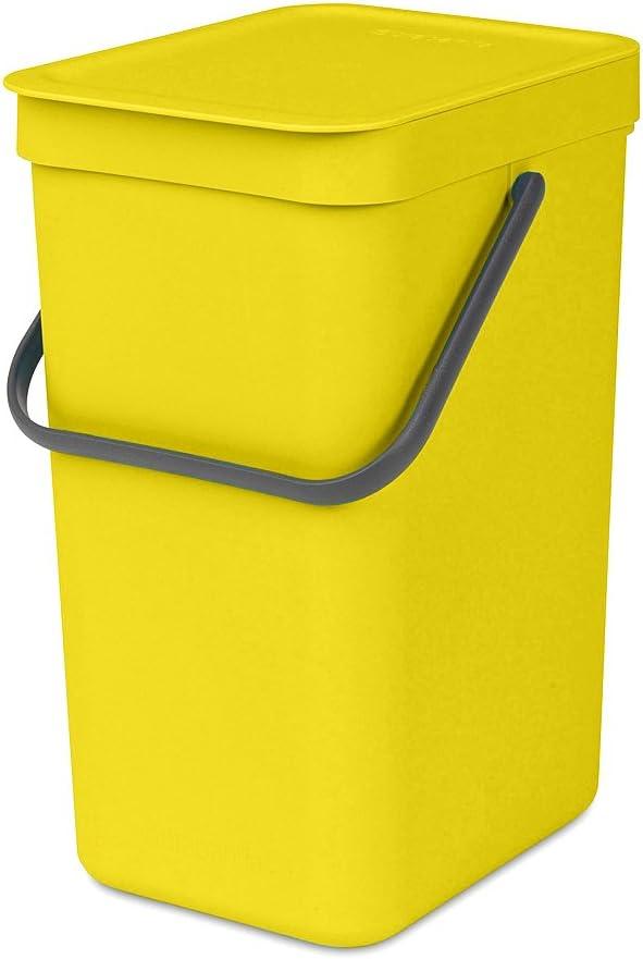 Brabantia Sort & Go Cubo de Basura, 16 L, Plástico, Amarillo, 27,9 x 22,0 x 40,1 cm