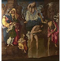 'Francesco Zaganelli - The Baptism Of Christ,1514' Oil Painting, 18x19 Inch / 46x48 Cm ,printed On Perfect Effect Canvas ,this High Quality Art Decorative Prints On Canvas Is Perfectly Suitalbe For Game Room Gallery Art And Home Decoration And Gifts