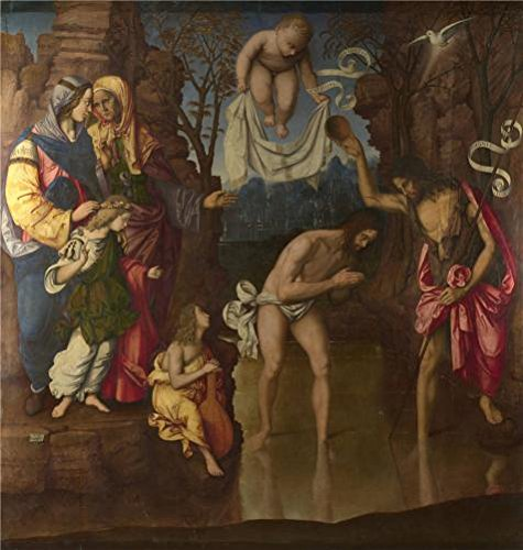 Space Girl Costume Au (Oil Painting 'Francesco Zaganelli - The Baptism Of Christ,1514' Printing On High Quality Polyster Canvas , 8x8 Inch / 20x21 Cm ,the Best Dining Room Decoration And Home Decoration And Gifts Is This Replica Art DecorativeCanvas Prints)