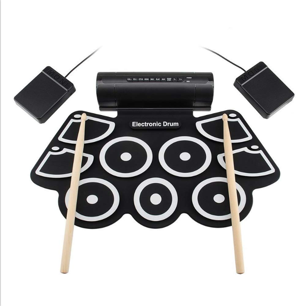 Roll Up Drum Kit, Electronic Roll Up MIDI Drum Kit Foot Pedals Drumsticks and Power Supply for Drum Beginner Drum Amateurs