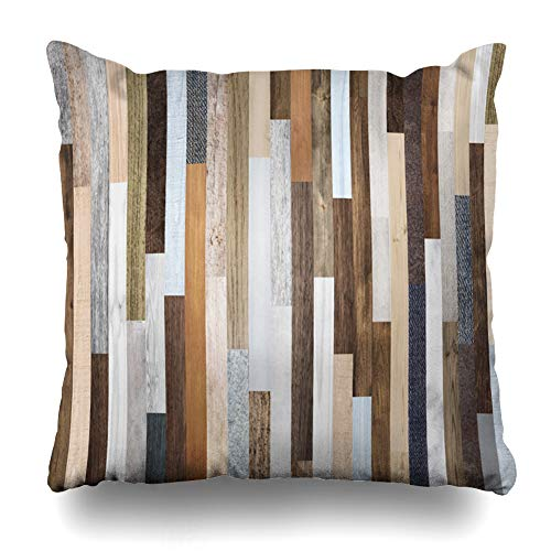 (KJONG Pallet Wood Colorful Planks Rustic Abstract Aged Beautiful Zippered Pillow Cover,18 x 18 inch Square Decorative Throw Pillow Case Fashion Style Cushion Covers(Two Sides Print))