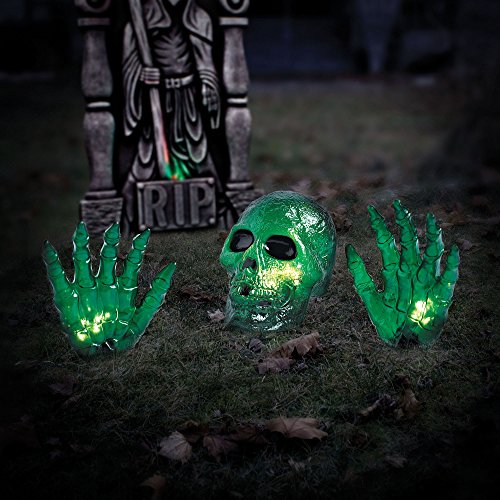 2 Green Skull with Hand Halloween Prop Halloween Decoration