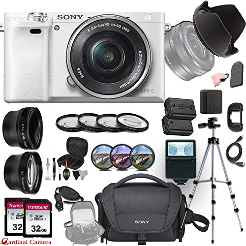 Sony Alpha a6000 (White) E-Mount Mirrorless Camera with Sony E 16–50mm f/3.5–5.6 OSS Lens + Professional Accessory-Kit Bundle