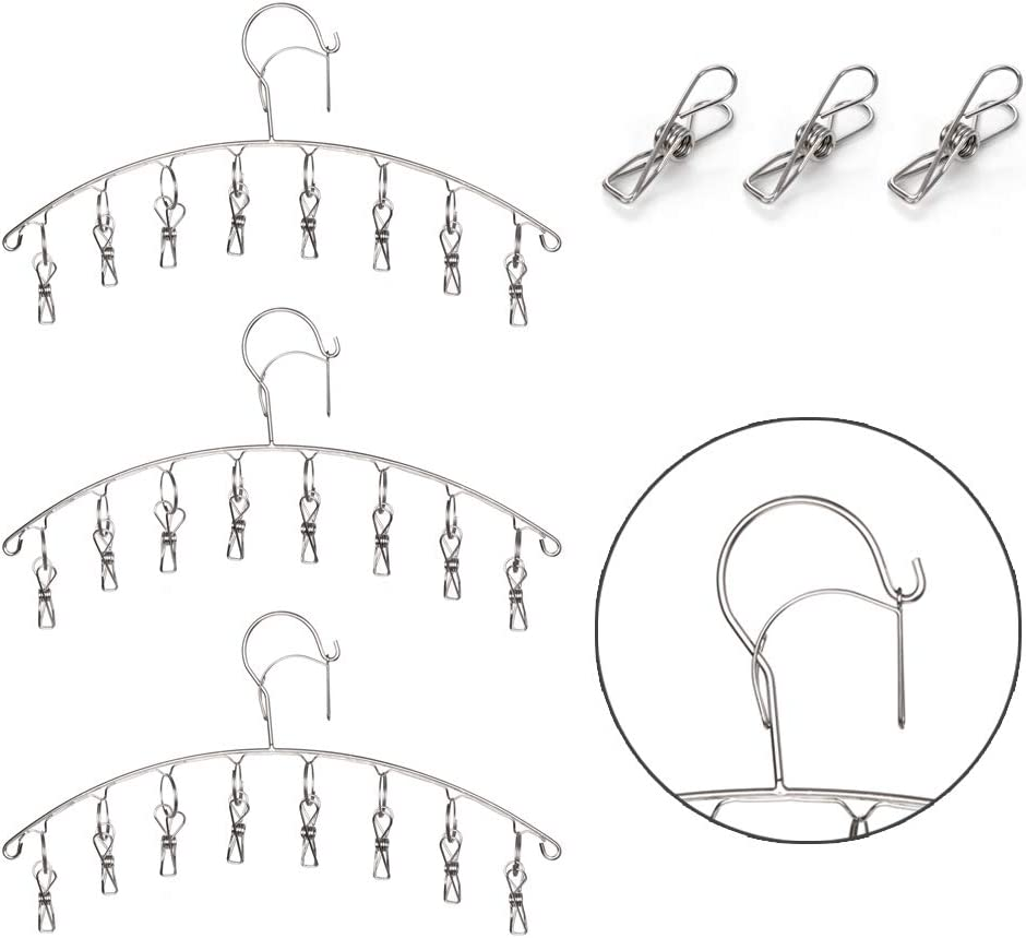 Stainless Steel Laundry Drying Rack, Clothes Hanger Socks Clips with 8 Clips, Set of 3 (3)