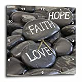 3dRose Andrea Haase Still Life Photography - Black Pebble With Engraved Words Love Faith Hope - 15x15 Wall Clock (dpp_268540_3)