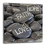 3dRose Andrea Haase Still Life Photography - Black Pebble With Engraved Words Love Faith Hope - 15x15 Wall Clock (dpp_268540_3)