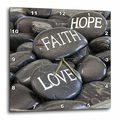 3dRose Andrea Haase Still Life Photography - Black Pebble With Engraved Words Love Faith Hope - 15x15 Wall Clock (dpp_268540_3) by 3dRose