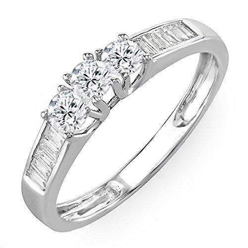 (Dazzlingrock Collection 0.55 Carat (ctw) 14K White Gold Round & Baguette Diamond 3 Stone Engagement Ring 1/2 CT (Size 10))