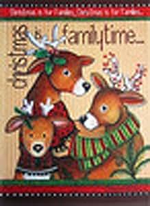 Familia tiempo de reno Bandera de jardín