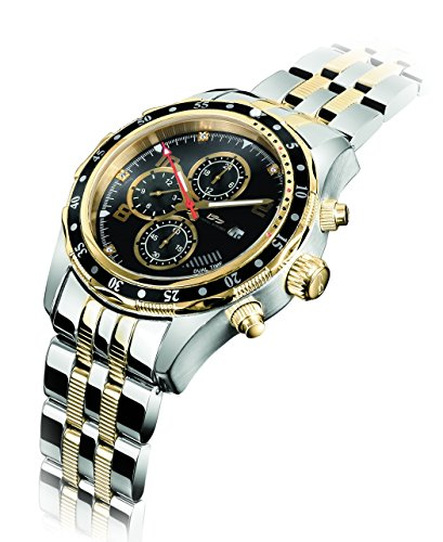 Daniel Steiger Alphagraph Two-Tone Watch - 18k Gold And Steel Finish - 6 Real Diamond Indices - Multi-Function Dual Time Movement - 18k Yellow Gold Diamond Watch