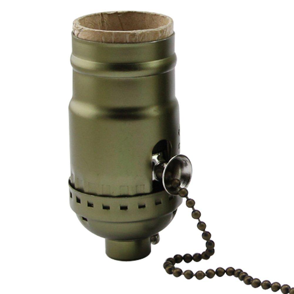 AAF Antique Bronze On/Off Pull Chain Screw Lamp Holder, Diy Light Socket E26 / E27 Base