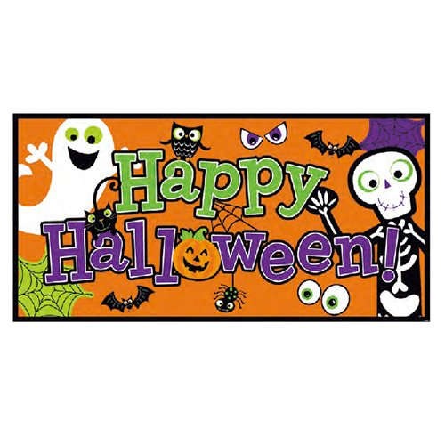 amscan Family Friendly Halloween Trick Or Treat Party Horizontal Banner (Pack of 1), Orange, 65