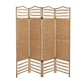 4 Panel Beige Wood Woven Design Decorative Partition Folding Screen / Privacy Room Divider - MyGift