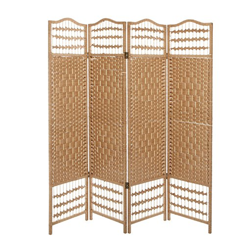 (MyGift 4 Panel Beige Wood Woven Design Decorative Partition Folding Screen/Privacy Room Divider)