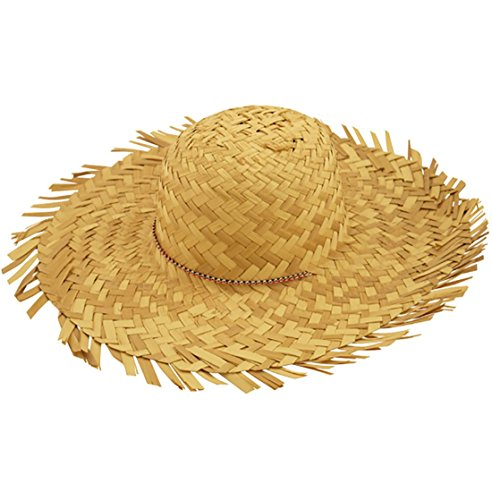 MA ONLINE Adults Beachcomber Straw Hat Mens Tropical Beach Party Fancy Dress Accessory One Size One Size Beach Comber Straw hat Female ()