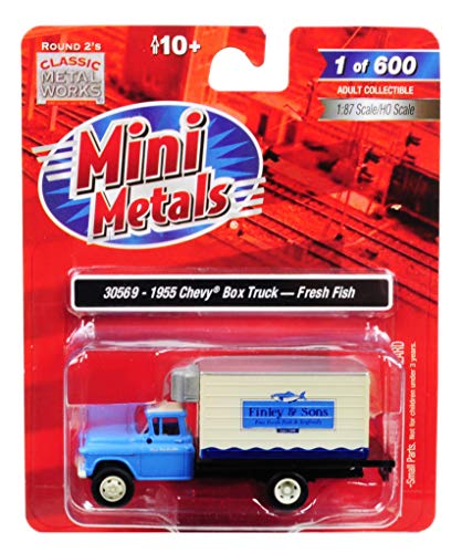 1955 Model - 1955 Chevrolet Refrigerated Reefer Box Truck Finley & Sons (Fresh Fish) 1/87 (HO) Scale Model by Classic Metal Works 30569