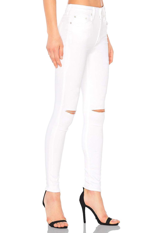 4f7450c6e13104 MONYRAY Jeans Strappati Donna Vita Alta Stretti Pantaloni in Denim Jegging  Elasticizzati Skinny Sfilacciati alle Ginocchia ...