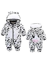 ALLAIBB Newborn Baby Warm Footie Romper Hood Winter Sleeping Bag Outfit Cartoon Aimals size 12-18M (dairy cow)