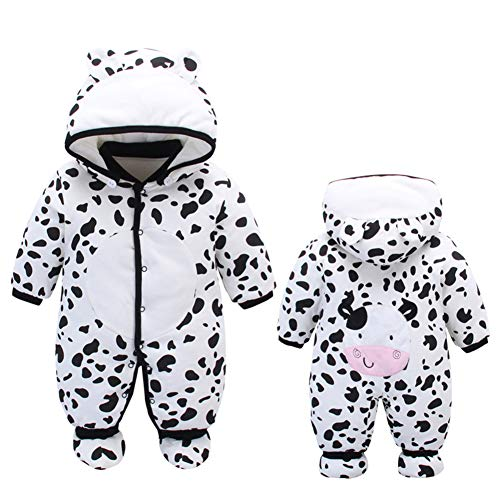 ALLAIBB Newborn Baby Warm Footie Romper Hood Winter Sleeping Bag Outfit Cartoon Aimals Size 9-12M (Dairy Cow)
