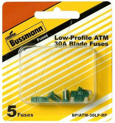 Bussmann BP//ATM-30LP-RP 30 Amp Low Profile ATM Blade Fuse 5 Pack