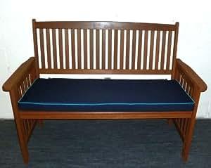 Zippy Waterproof Garden Furniture Bench Cushion - 3 Seat - Navy & Turquoise piping