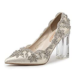 Women's Crystal Applique Clear High Heel Shoes
