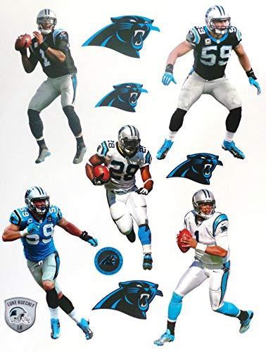 FATHEAD Carolina Panthers Mini Graphics Team Set 5 Players + 6 Panthers Logo + Helmet Official NFL Vinyl Wall Graphics 7