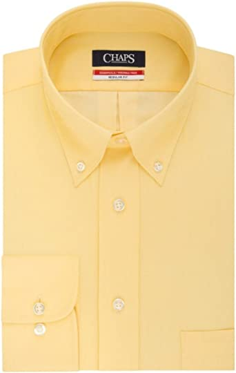 NWT NEW mens orange  CHAPS wrinkle free herringbone twill dress shirt $45 retail