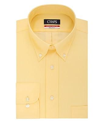 a6d2fcfa0 Chaps Mens Regular Fit Herringbone Twill Dress Shirt Yellow (15-15.5 quot   Neck 34