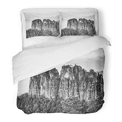 Popular Climber Set - Emvency Bedding Duvet Cover Set King (1 Duvet Cover + 2 Pillowcase) Sharp Sandstone Cliffs of Schrammsteine Rocks Above Deep Valley Popular Climbers Hotel Quality Wrinkle and Stain Resistant