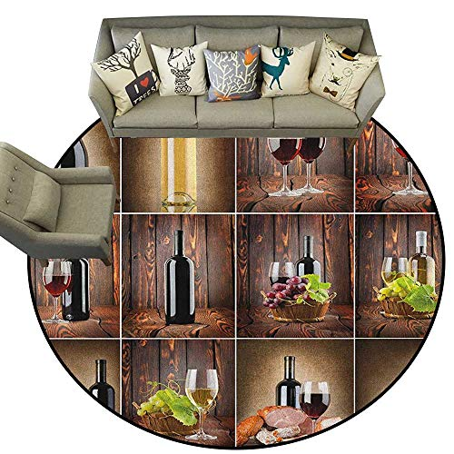 Wine,Rubber mat Wine Themed Collage on Wooden Backdrop with Grapes and Meat Rustic Country Drink D72 Bathroom Floor mats