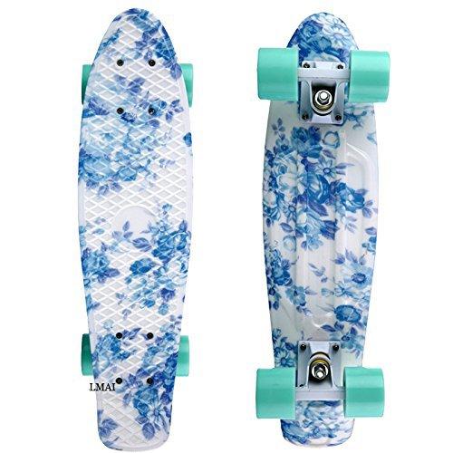 - LMAI 22'' Cruiser Skateboard Graphic Blue Flower Floral Board Complete Skateboad