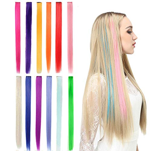 Kalolary 22 Inch 12Pcs Colored Party Highlights Straight Hair Clip Extensions, Straight Long Hairpiece Heat-Resistant Synthetic Hair Extensions for Halloween, Christmas,Coplay(Full Color Set) -