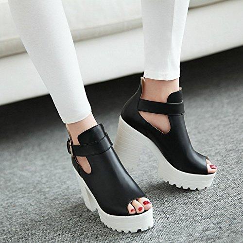 COOLCEPT Mujer Moda Ankle Wrap Verano Court Zapatos Peep Toe Tacon Ancho Sandalias Negro