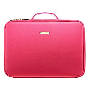[Gifts for women] ROWNYEON PU Leather Makeup Bag Professional Makeup Organizers Bag Portable Travel Makeup Case EVA Makeup Train Case Best Gift for Girl (Pink Medium)