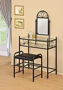 3-Piece Metal Make-Up Heart Mirror Vanity Dresser Table and Stool Set, Black