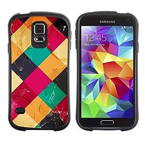 LASTONE PHONE CASE / Suave Silicona Caso Carcasa de Caucho Funda para Samsung Galaxy S5 SM-G900 / Colorful Cubes Neon