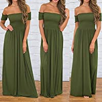 Wensltd Womens Casual Off shoulder Slim Fit Evening Party Long Maxi Pleated Dress (XXL, Army Green)