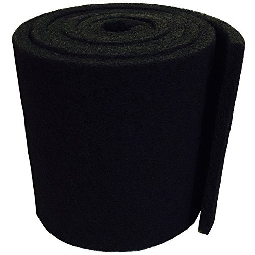 Aquatic Experts Classic Koi Pond Filter Pad COARSE - 12 Inches by 12 Feet by 3/4 inch to 1 Inch - Black Bulk Roll Pond Filter Media, Rigid Ultra-Durable Latex Coated Fish Pond Filter Material USA