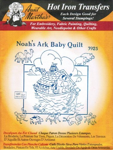 Noah's Ark Baby Quilt Aunt Martha's Hot Iron Embroidery Transfer