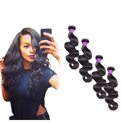 Passion Beauty 4 Bundles 7a Grade Peruvian Virgin Hair Body Wave 100% Unprocessed Virgin Human Hair Weave Extensions Nature Color 95-100g/pc (Body 14 14 16 16) by Passion