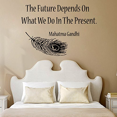 Wall Decor Vinyl Decal Sticker Feather Quote Sport Girl Yoga the Future Depends on What We Do in the Present Gym Bedroom Living Room Home Interior Design Kg815