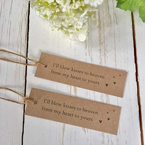 Angel & Dove 25 Kraft Bubble Funeral Favour Tags with Jute Twine - for funeral, celebration of life, memorial …