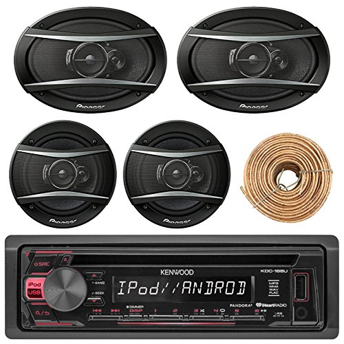 Kenewood KDC168U Car Radio USB AUX CD Player Receiver - Bundle With 2x TSA1676R 6.5'' 3-Way Car Audio Speakers - 2x 6.5''-6.75'' 4-Way Stereo Speaker + Enrock 50Ft 18 Gauge Speaker Wire by EnrockAutomotiveBundle (Image #1)