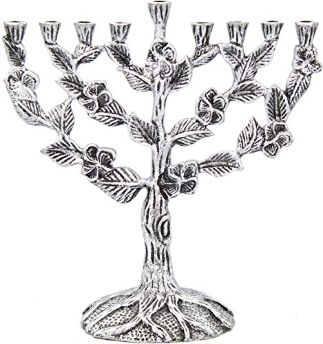 The Dreidel Company Menorah Tree of Flowers Antique (Tree of Flowers Antique Silver Finish)