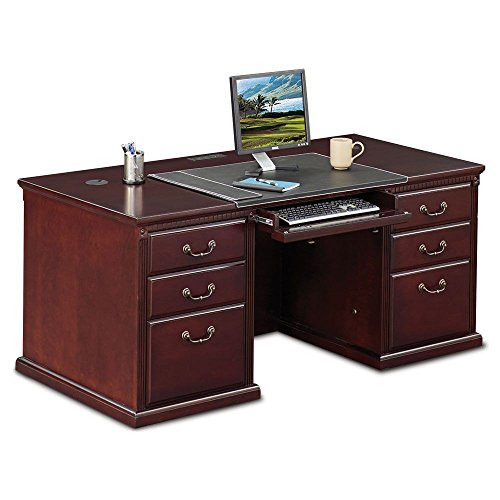 "Kathy Ireland Huntington Club Executive Double Pedestal Desk - 68""W Huntington Cherry Dimensions: 68.25""W x 31.75""D x 29""H Weight: 351 lbs."